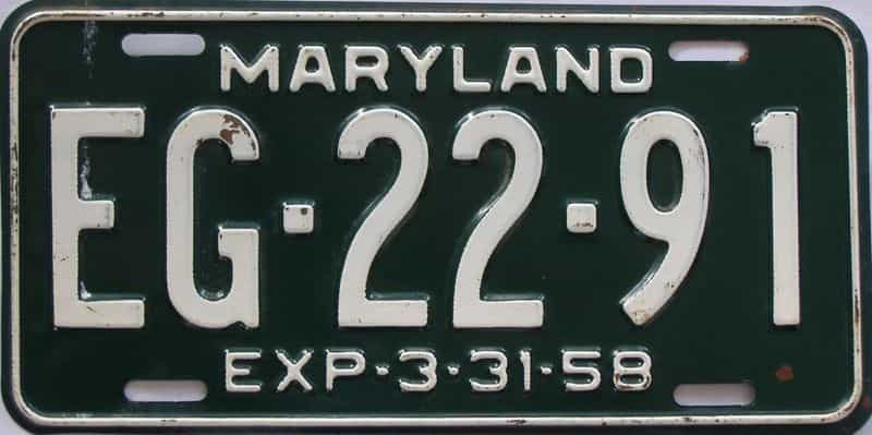 1958 MD (Single) license plate for sale