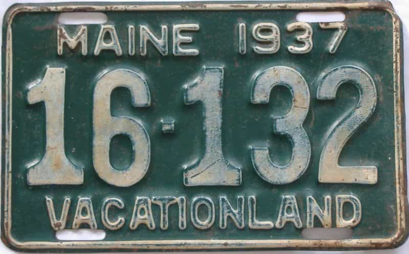1937 ME (Single) license plate for sale