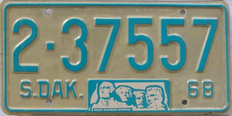 1968 South Dakota (Single) license plate for sale