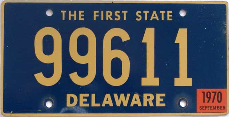 1970 DE license plate for sale