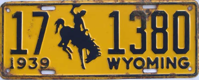 1939 WY (Single) license plate for sale