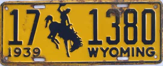 1939 Wyoming (Single) license plate for sale