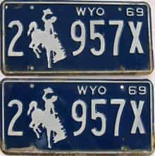 1969 Wyoming (Pair) license plate for sale