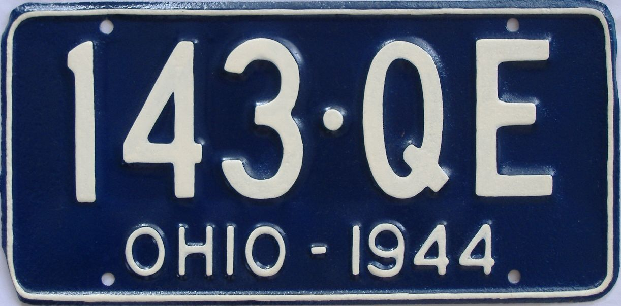 1944 Ohio (Very Nice Older Repaint) license plate for sale