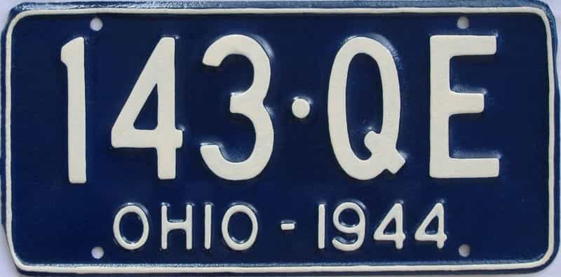 1944 OH (Very Nice Older Repaint) license plate for sale