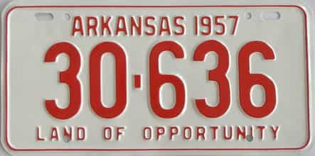 RESTORED 1957 Arkansas license plate for sale