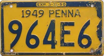 1949 Pennsylvania (Single) license plate for sale