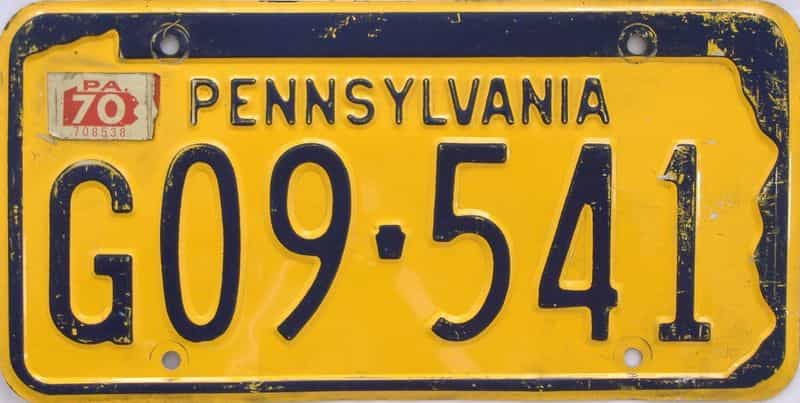 1970 Pennsylvania license plate for sale