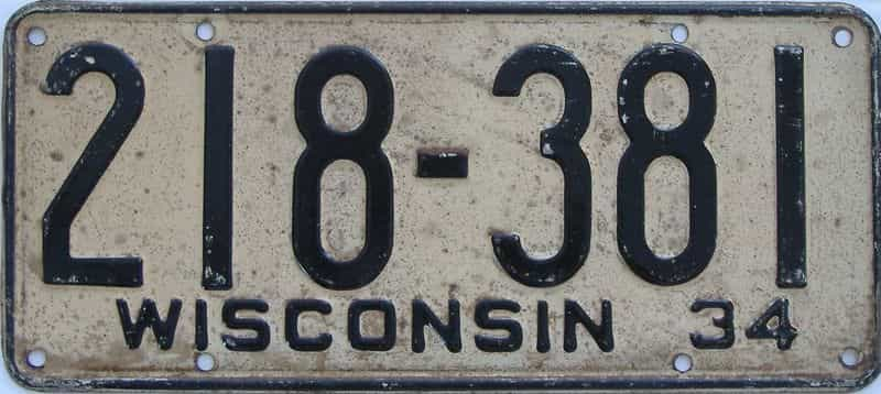 1934 WI (Single) license plate for sale