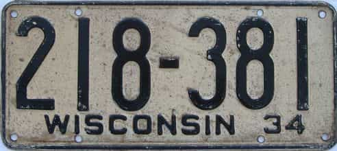 1934 Wisconsin (Single) license plate for sale