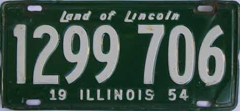 1954 Illinois (Single) license plate for sale