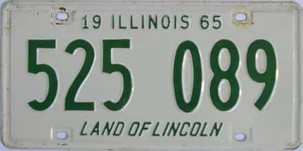 1965 Illinois  (Single) license plate for sale