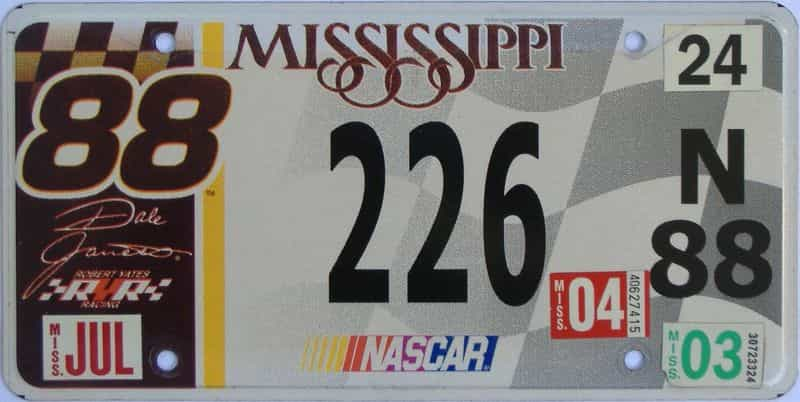 2004 Mississippi license plate for sale