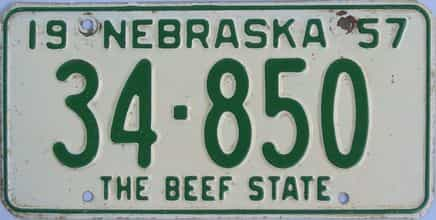 1957 Nebraska (Single) license plate for sale