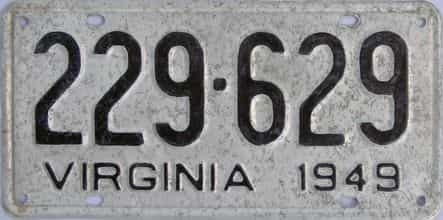 1949 Virginia (Single) license plate for sale
