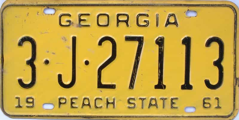 YOM 1961 GA license plate for sale