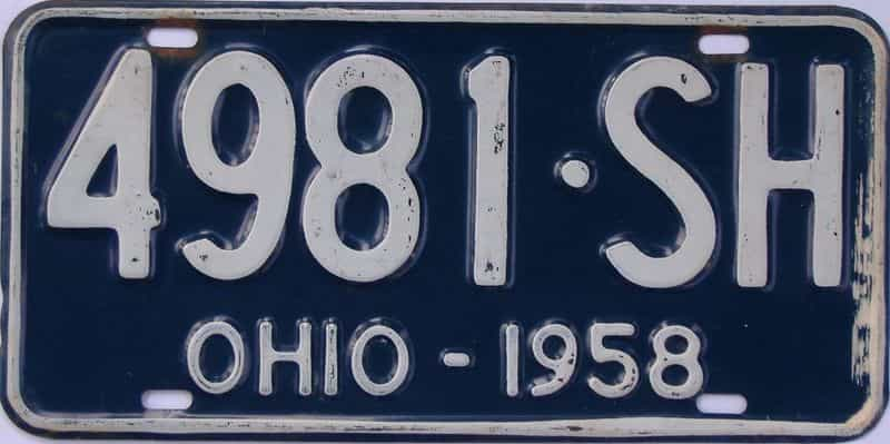 1958 OH (Single) license plate for sale