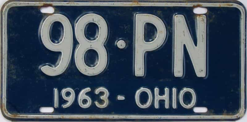 1963 OH (Single) license plate for sale