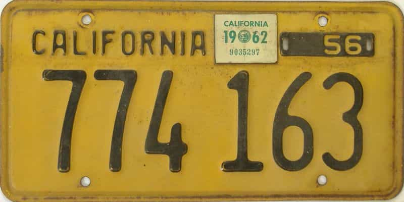 1962 California  (Trailer) license plate for sale