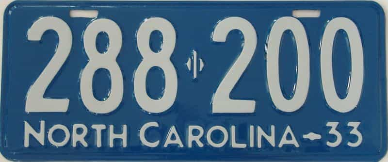 RESTORED 1933 NC (Single) license plate for sale
