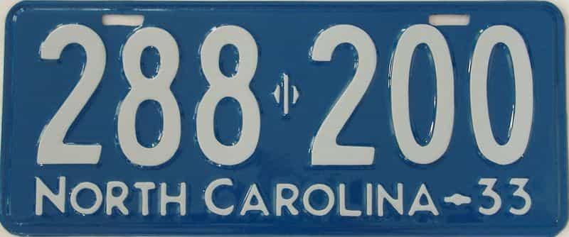 RESTORED 1933 North Carolina (Single) license plate for sale