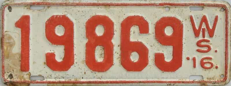 1916 Wisconsin (Repaint - As Found) license plate for sale