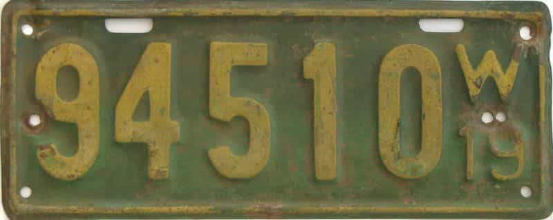 1919 WI (Single) license plate for sale