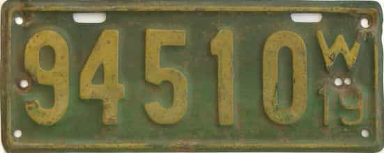 1919 Wisconsin (Single) license plate for sale