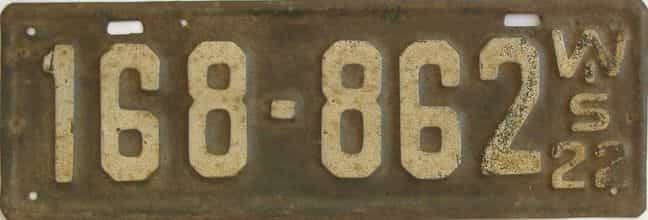 1922 Wisconsin (Single) license plate for sale