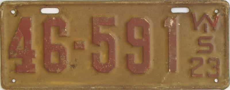 1923 WI (Single) license plate for sale