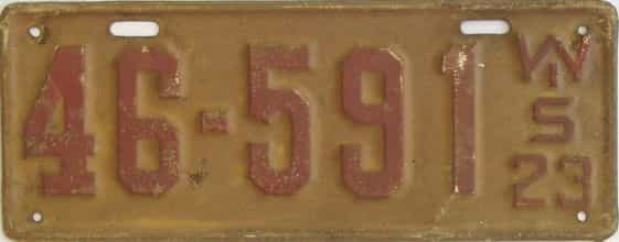 1923 Wisconsin (Single) license plate for sale