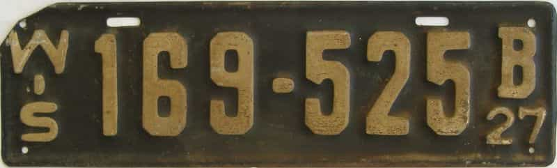 1927 Wisconsin  (Single) license plate for sale
