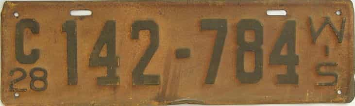 1928 Wisconsin (Single) license plate for sale