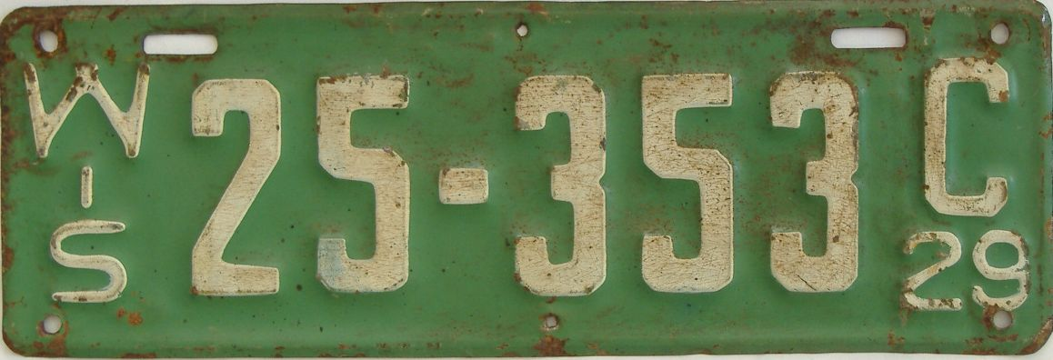 1929 Wisconsin (Single) license plate for sale