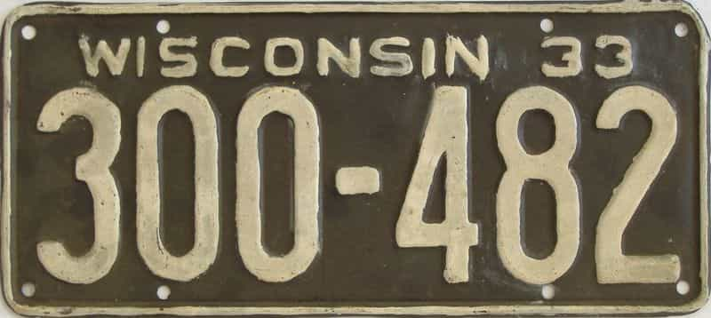 1933 WI (Repaint - As Found) license plate for sale