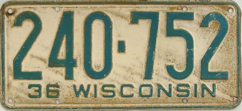 1936 WI (Single) license plate for sale