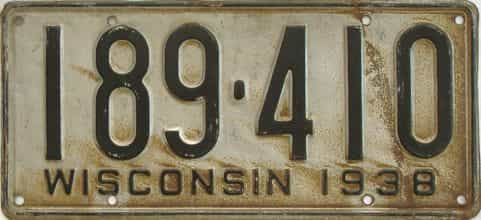 1938 Wisconsin (Single) license plate for sale