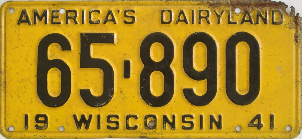 1941 Wisconsin (Single) license plate for sale