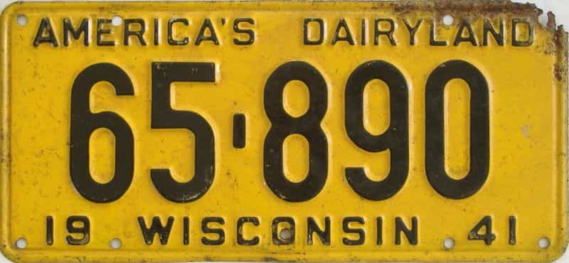 1941 WI (Single) license plate for sale