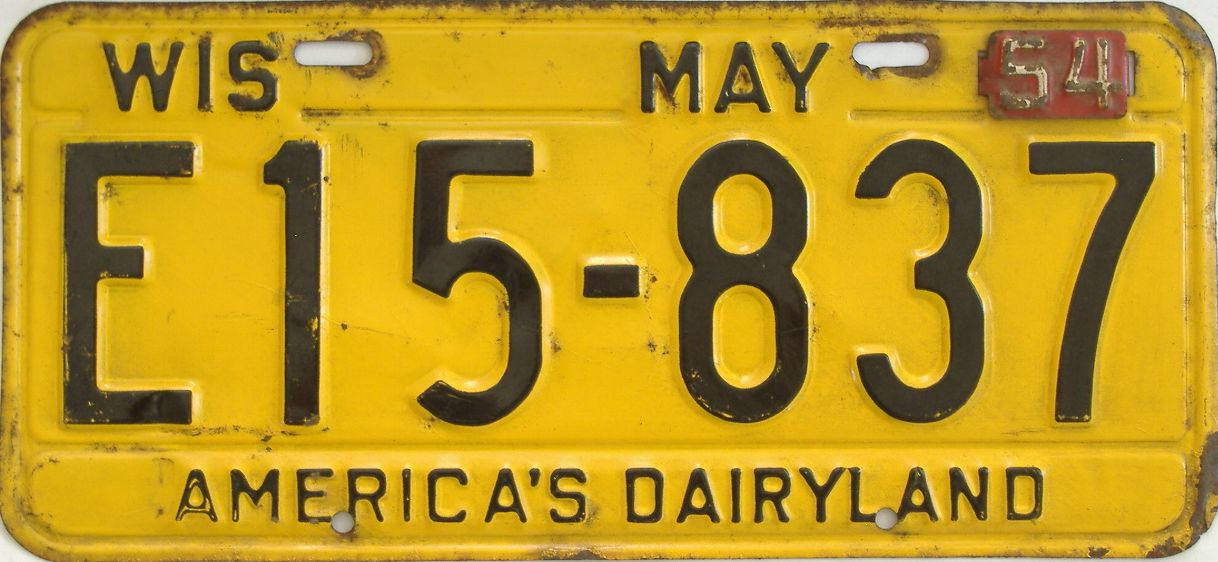 1954 Wisconsin (Single) license plate for sale