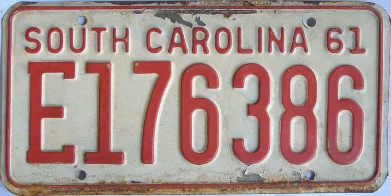 1961 South Carolina (Single) license plate for sale