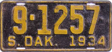 1934 South Dakota (Single) license plate for sale