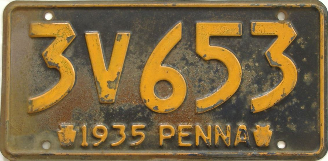 1935 Pennsylvania (Single) license plate for sale