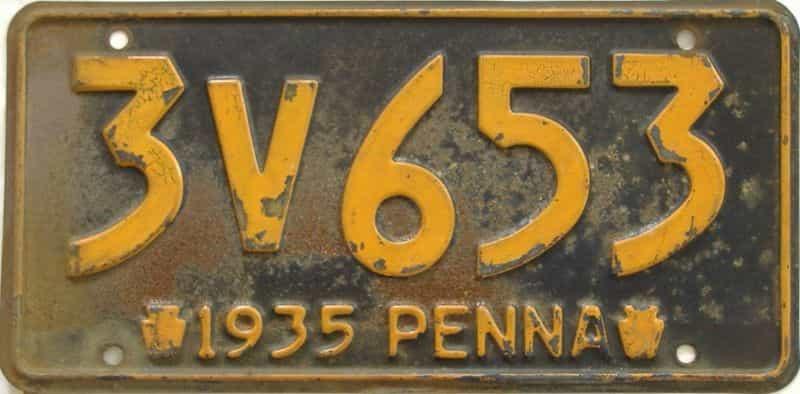 1935 Pennsylvania (Single) license plate for sale