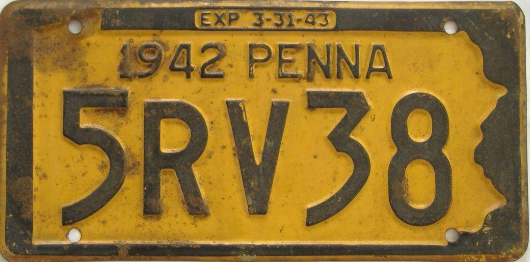 1942 Pennsylvania (Single) license plate for sale