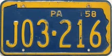 1958 Pennsylvania license plate for sale