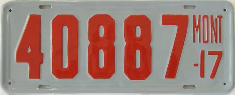 RESTORED 1917 Montana (Single) license plate for sale