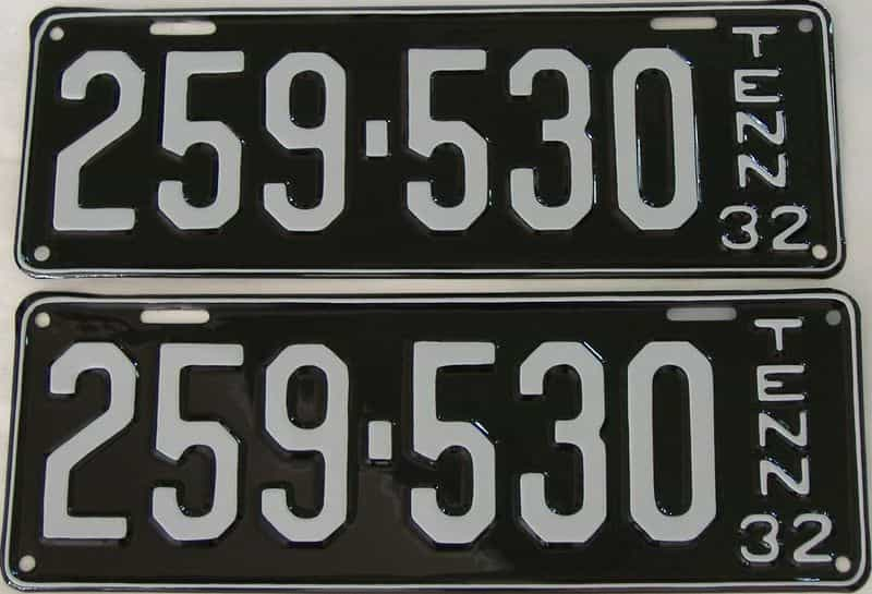 RESTORED 1932 Tennessee (Pair) license plate for sale