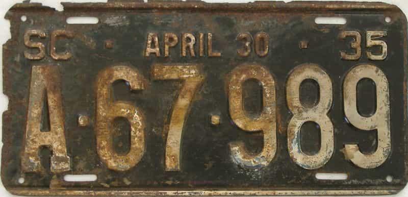 1935 South Carolina (Single) license plate for sale