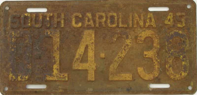 1945 South Carolina license plate for sale